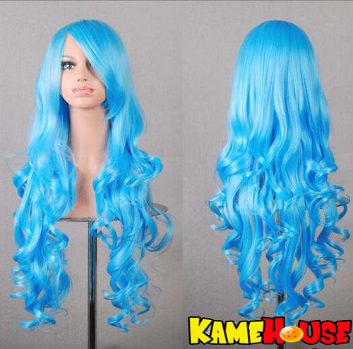 Curly wig 80 cm - Light Blue