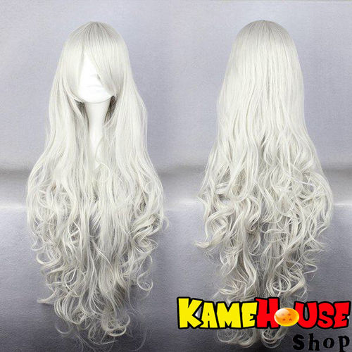 Curly wig 80 cm - White